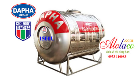Giá Bồn nước inox Dapha 1.500 lít ngang