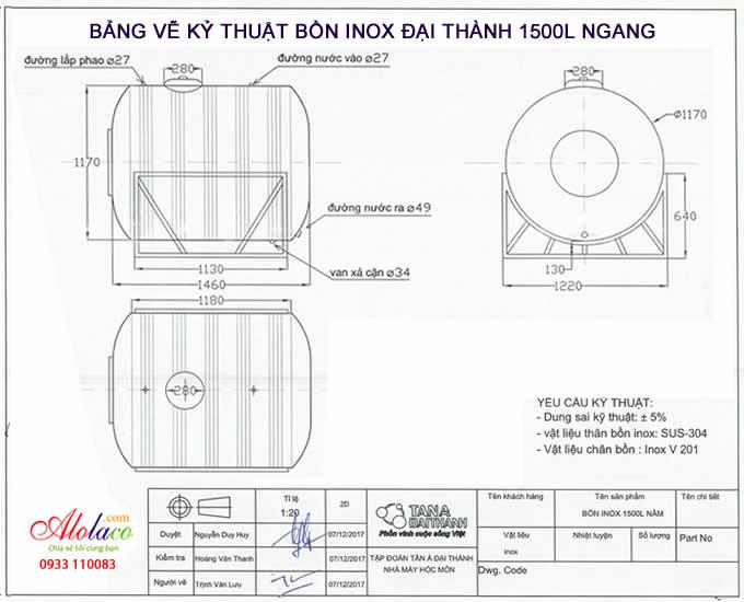 bảng vẽ bồn nước inox 1500l ngang đại thành