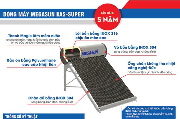máy nước nóng năng lượng mặt trời megasun KAS-super